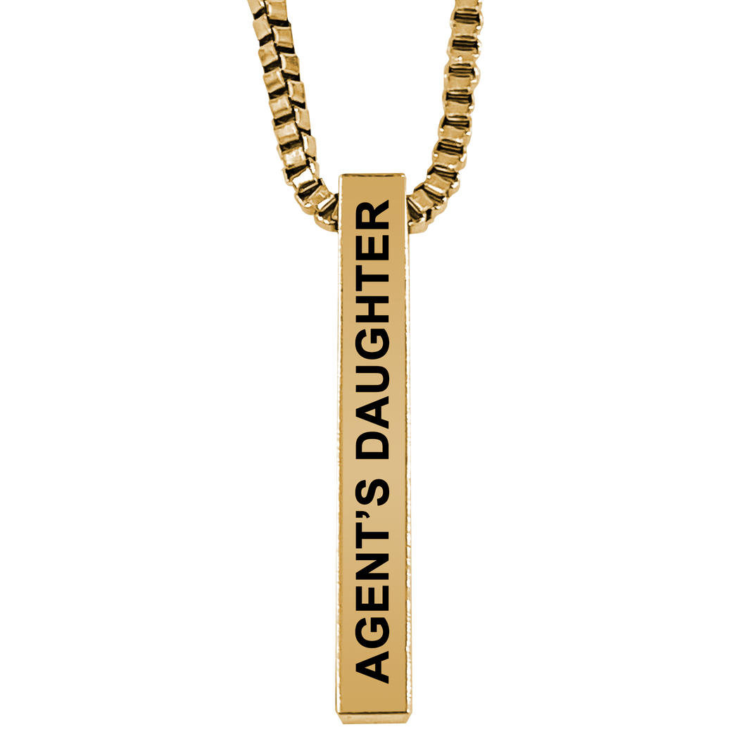 Agent's Daughter Gold Plated Pillar Bar Pendant Necklace Gift Mother's Day Christmas Holiday Anniversary Police Sheriff Officer First Responder Law Enforcement