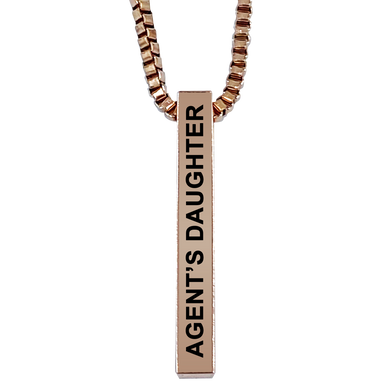 Agent's Daughter Rose Gold Plated Pillar Bar Pendant Necklace Gift Mother's Day Christmas Holiday Anniversary Police Sheriff Officer First Responder Law Enforcement