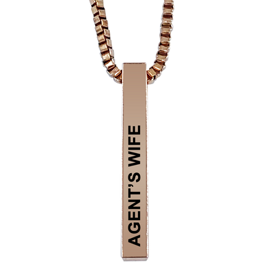 Agent's Wife Rose Gold Plated Pillar Bar Pendant Necklace Gift Mother's Day Christmas Holiday Anniversary Police Sheriff Officer First Responder Law Enforcement