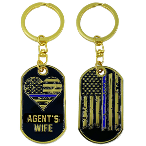 AA-008 Agent's Wife Thin Blue Line American Flag Challenge Coin Keychain Federal Special
