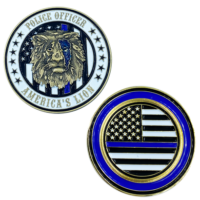 BB-009 America's Lion Thin Blue Lion Police Challenge Coin National Law Enforcement Memorial