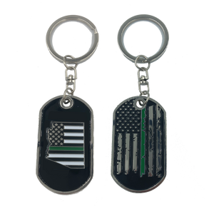 Arizona Thin Green Line Challenge Coin Dog Tag Keychain Police CBP Sheriff Border Patrol Army Marines
