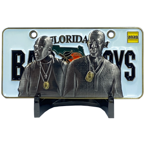 EL5-015 BAD BOYS version 2 City of Miami Police Department inspired Florida License Plate Thin Blue Line Back the Blue Challenge Coin Will Smith Martin Lawrence