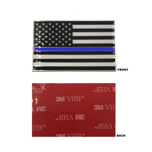 Thin Blue Line US Flag Vehicle Emblem high-end metal decal with 3M VHB Tape Police CBP LEO