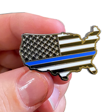 Thin Blue Line U.S. Map Pin with 2 pin posts and deluxe pin clasps Police Border Patrol Sheriff Security Marines Army