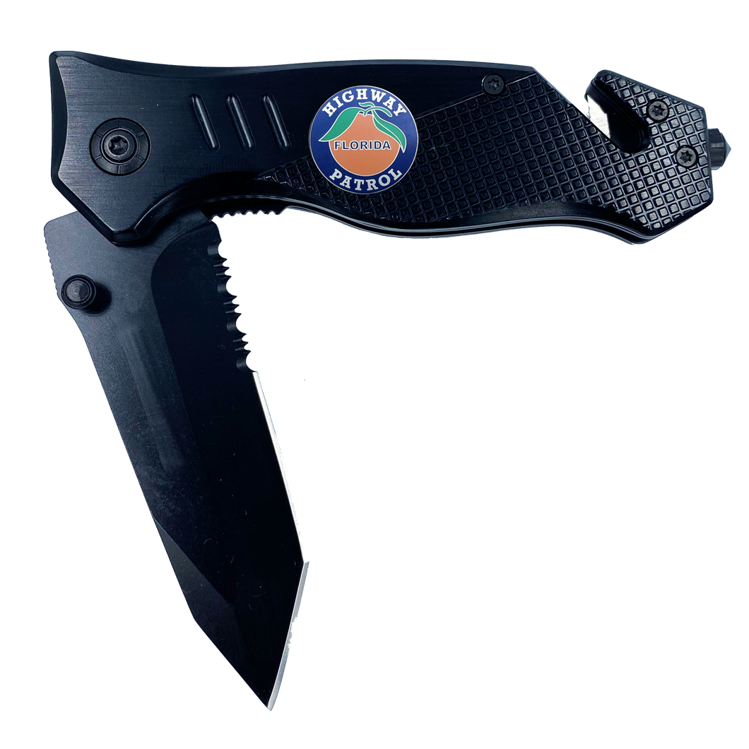 FHP collectible 3-in-1 Tactical Officer Rescue Knife with Seatbelt Cutter, Steel Serrated Blade, Glass Breaker Florida Highway Patrol Police Trooper