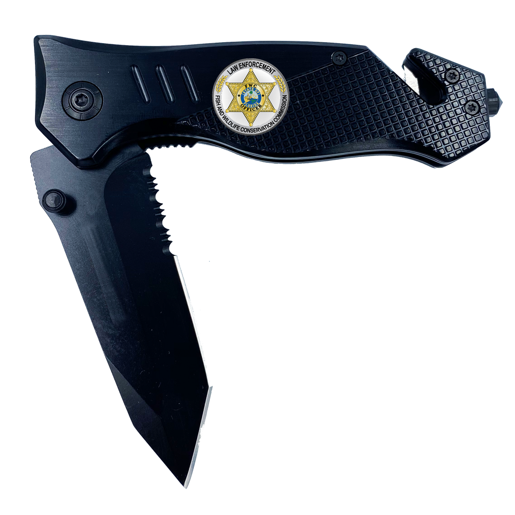 FWC Florida Fish and Wildlife Commission collectible BPA 3-in-1 Police Tactical Rescue Knife with Seatbelt Cutter, Steel Serrated Blade, Glass Breaker Police Fishing Hunting