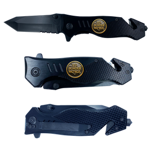 Border Patrol collectible BPA 3-in-1 Police Tactical Rescue Knife with Seatbelt Cutter, Steel Serrated Blade, Glass Breaker Patrol Agent CBP