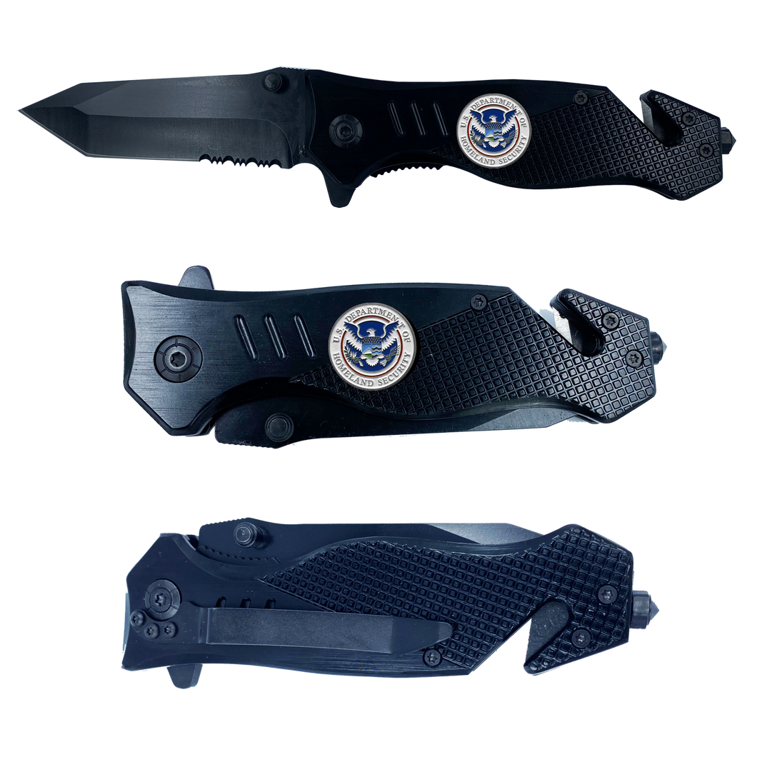 DHS collectible Officer 3-in-1 Police Tactical Rescue Knife with Seatbelt Cutter, Steel Serrated Blade, Glass Breaker Homeland Security