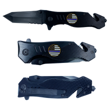 Thin Blue Line Police collectible 3-in-1 Tactical Officer Rescue Knife with Seatbelt Cutter, Steel Serrated Blade, Glass Breaker Deputy Sheriff