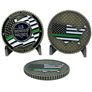 EL4-020 Border Patrol Honor First CBP Challenge Coin BPA Patrol Agent thin green line police