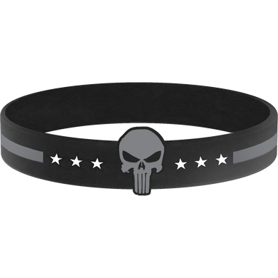 Thin Gray Line Punisher Silicon Bracelet (grey) Correctional Officer Corrections Jail Prison