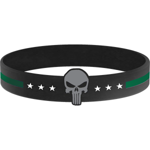 Thin Green Line Punisher Silicon Bracelet (GREEN) Border Patrol, Security, Sheriff, Police, Army