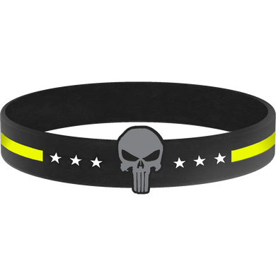 Thin Gold Line Punisher Silicon Bracelet (YELLOW) Dispatcher, Emergency, 911