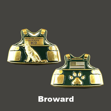 Broward County Sheriff K9 Body Armor Challenge Coin Canine Deputy