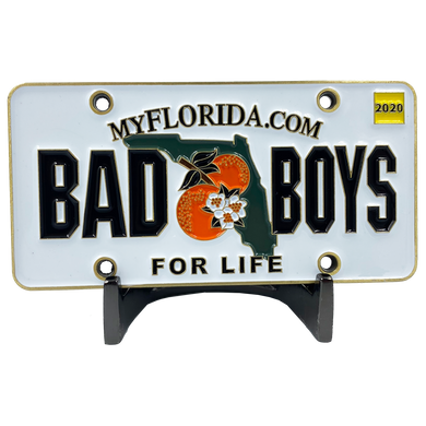 CL7-13 Bad Boys City of Miami Police Department inspired Florida License Plate Challenge Coin Will Smith Martin Lawrence