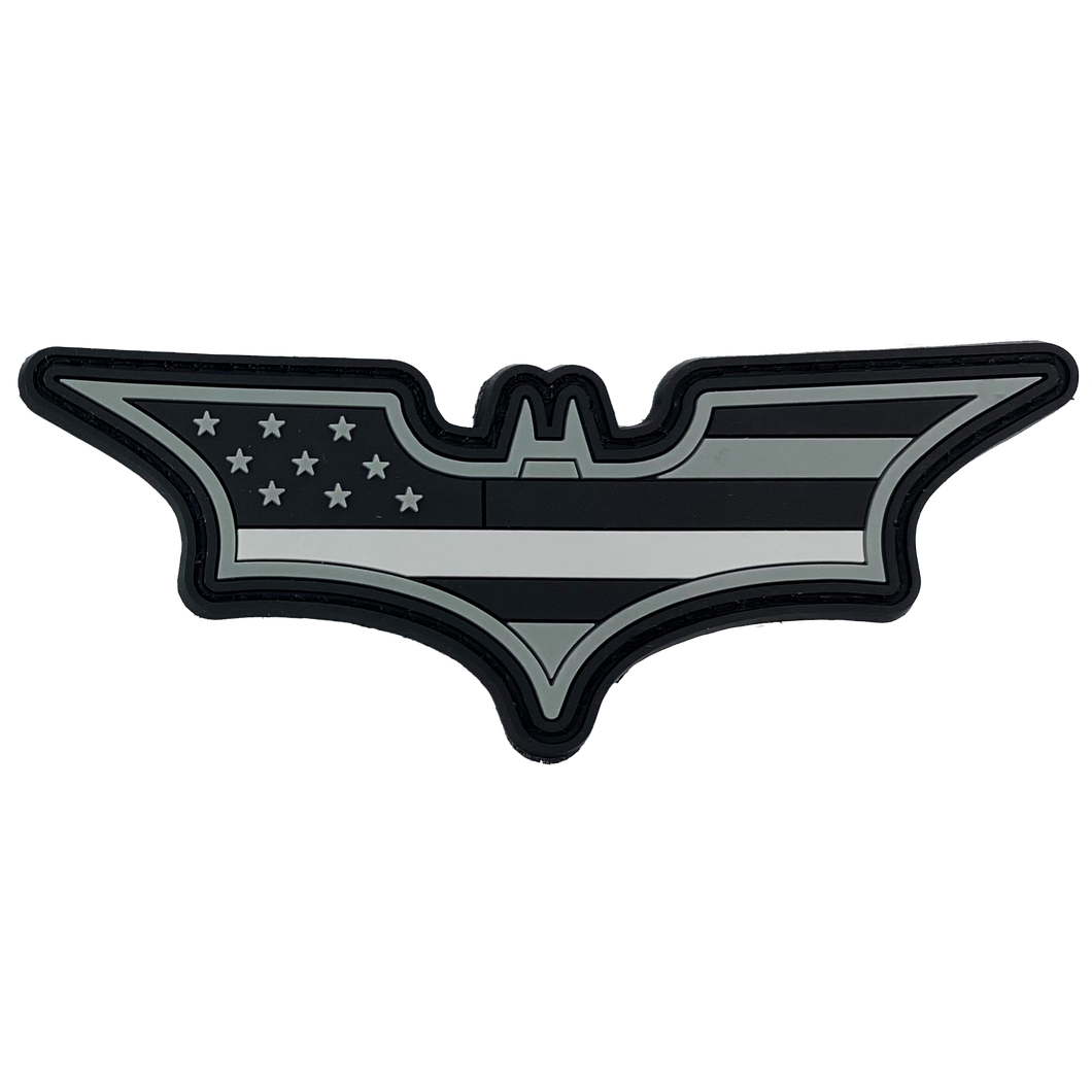 CL4-13 Batman inspired Thin Gray Line Corrections CO PVC Patch hook and loop back Correctional Officer