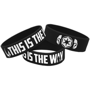 Mandalorian inspired This Is The Way Beskar Black Rubber Silicone Bracelet (8 inch)