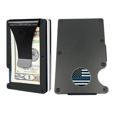 EL3-012 Police Thin Blue Line Wallet Money Clip RFID Blocking Front Pocket Wallet Premium Minimalist Wallets for Men Minimalist Slim Credit Card Holder Business Card Holder Mens Aluminum Metal Wallet