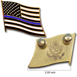 Thin Blue Line Police Large cloisonné American Flag Lapel Pin with 2 pin posts and deluxe clasps, U.S. Stars are Stripes