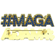 BLUE: Crystal #MAGA pin TRUMP MAGA Make America Great Again