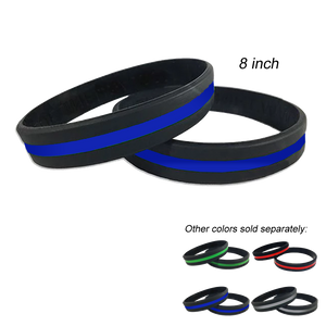 Thin Blue Line Police Silicon Bracelet (BLUE)