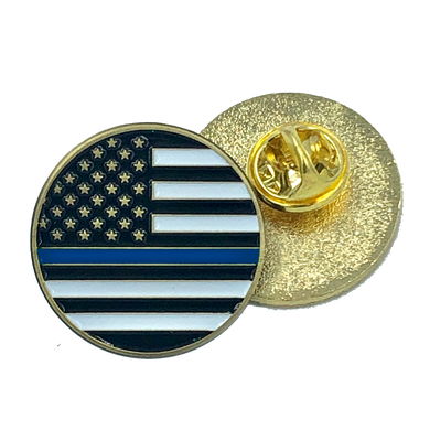 Thin Blue Line pin police law enforcement american flag (round)