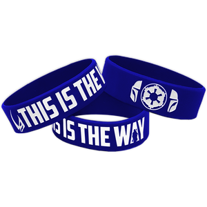 Mandalorian inspired This Is The Way Beskar Blue Rubber Silicone Bracelet (8 inch)