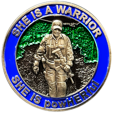 BL6-006 She is a powHERful Warrior thin blue line Police Border Patrol CBP Military Tactical Female Challenge Coin Agent Officer CBP ATF LAPD Deputy Sheriff