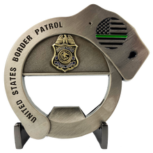 CL7-18 Border Patrol Handcuff Challenge Coin Cuff Bottle Opener Thin Green Line BP Agent