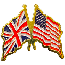 M-27 UK and American Flag lapel pin USA UK British England Crossed Flags
