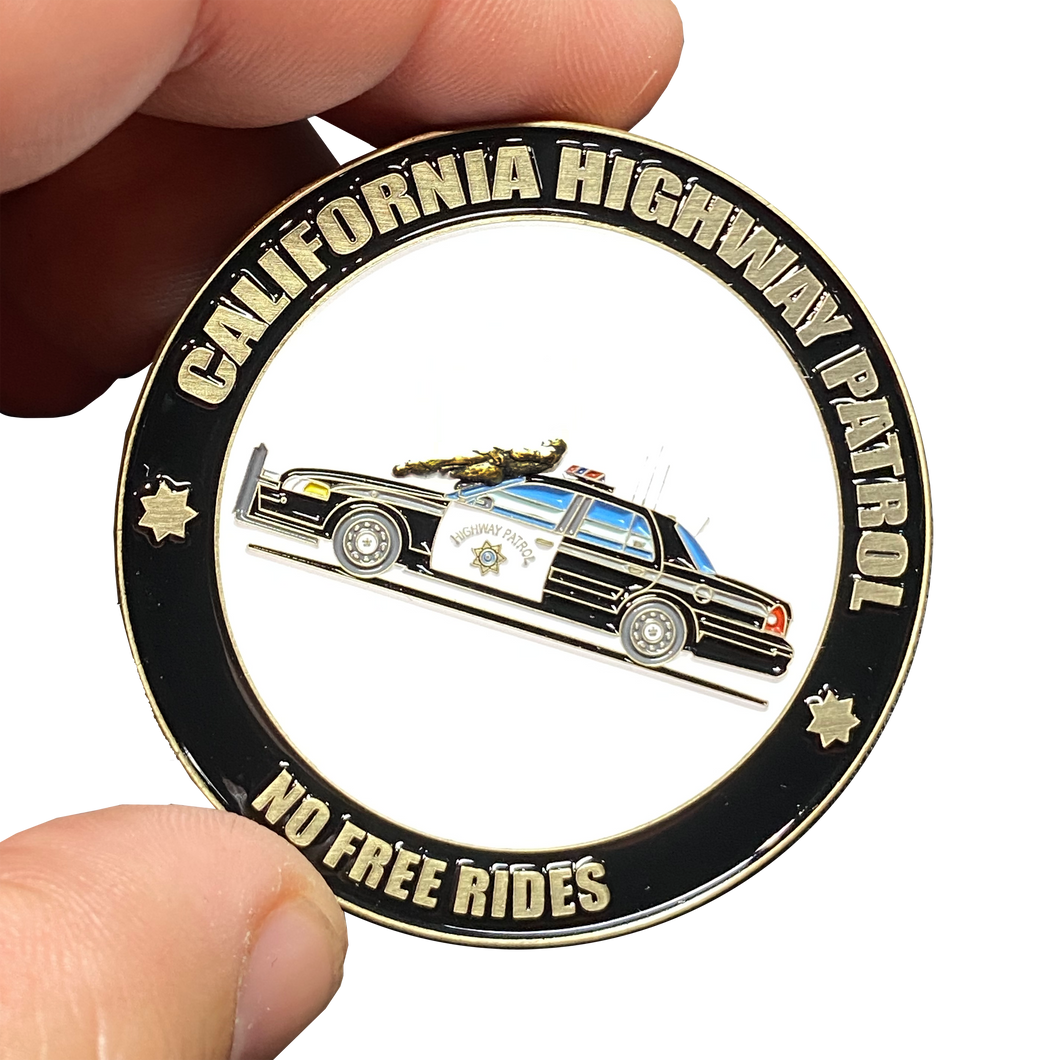 EE-003 California Highway Patrol Civil Unrest Riot CHP No Free Rides Police Car Cruiser Trooper Challenge Coin