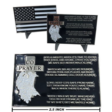 EL1-015 Correctional Officer Prayer with Thin Gray Line American Flag CO Corrections