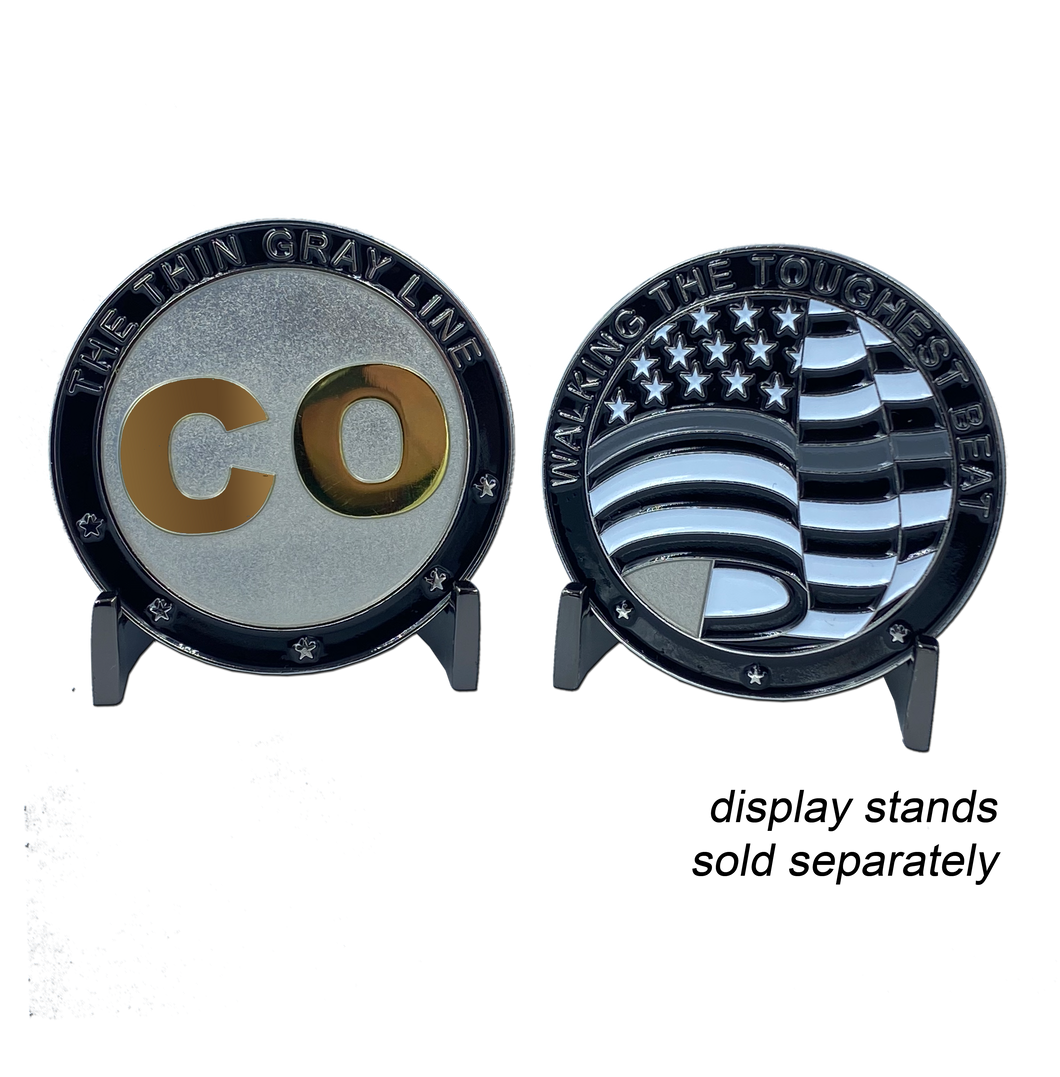 DD-003 Correctional Officer CO Thin Gray Line Challenge Coin Corrections Walking the Toughest Beat Flag Medallion