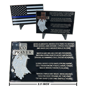 Correctional Officer Prayer with Thin Blue Line American Flag CO Corrections