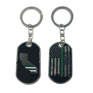 California Thin Green Line Challenge Coin Dog Tag Keychain Police CBP Sheriff Border Patrol Army Marines