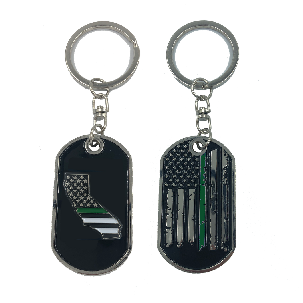HH-010 California Thin Green Line Challenge Coin Dog Tag Keychain Police CBP Sheriff Border Patrol Army Marines