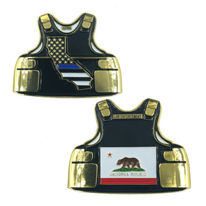 California LEO Thin Blue Line Police Body Armor State Flag Challenge Coins