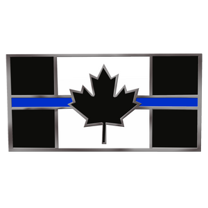 CL2-13 Canada Thin Blue Line Flag Cloisonne' hard enamel large 1.75 inch Royal Canadian Mounted Police pin with double pin back