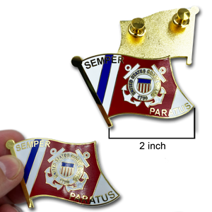 CC-011 Large cloisonné Coastie Seal Flag Lapel Pin with 2 pin posts and deluxe clasps, USCG Coast Guard SEMPER PARATUS