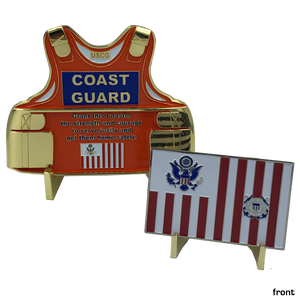 Coast Guard Set: Coastie Body Armor Medallion and Flag Challenge Coin USCG