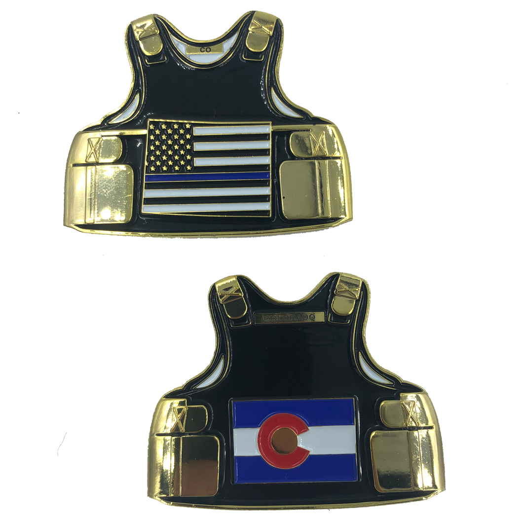 Colorado LEO Thin Blue Line Police Body Armor State Flag Challenge Coins