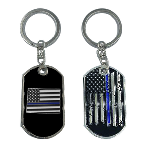 Colorado Thin Blue Line Challenge Coin Dog Tag Keychain Police Law Enforcement