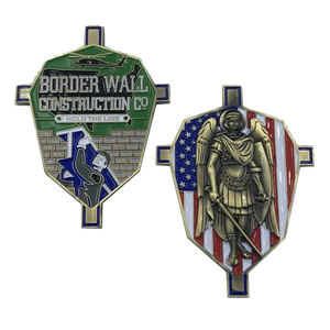 Border Wall Construction Company St. Michael Collectible Challenge Coin Trump MAGA CBP Border Patrol
