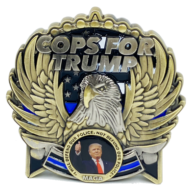 EL5-017 COPS for TRUMP 45th President Donald J. Trump MAGA Police Officer Thin Blue Line Mount Rushmore St. Michael White House American Flag