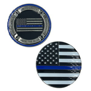J-006 Thin Blue Line Back the Blue Core Values Challenge Coin Police CBP Law Enforcement