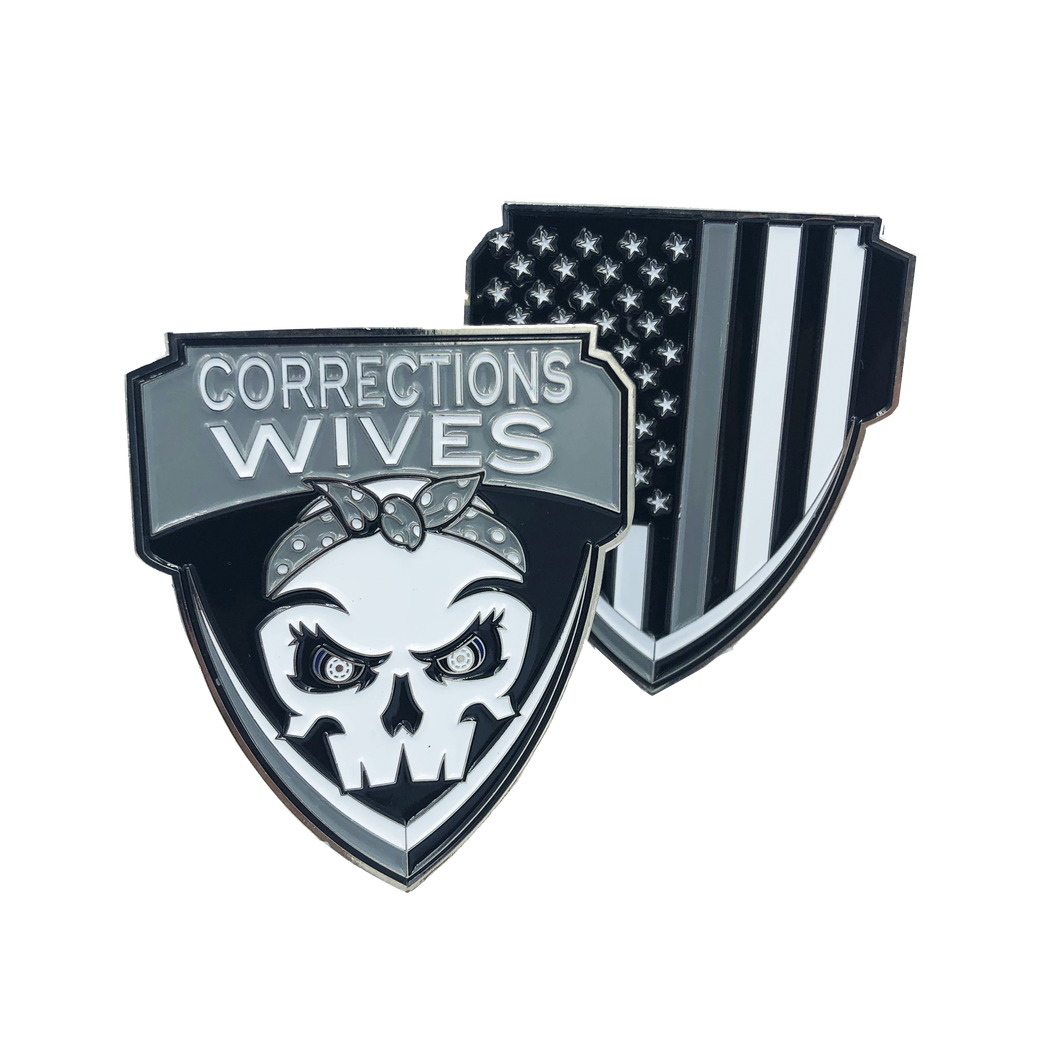 E-008 Corrections Wives Challenge Coin Thin Gray Line CO Correctional Officer Prison Jail wife