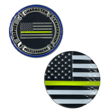 H-022 Thin Gold Line Back the Blue Core Values Challenge Coin Police Dispatcher gold / yellow
