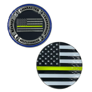 Thin Gold Line Back the Blue Core Values Challenge Coin Police Dispatcher gold / yellow