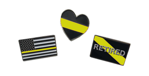 Dispatcher Pin Set: 3 Emergency Pins for $6 911 thin yellow gold line